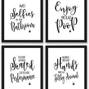 Bathroom Quotes and Sayings Art Prints | Set of Fo